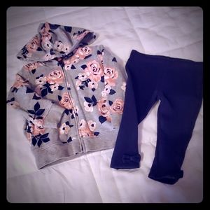 Jogger set with fleece lined bow bottoms
